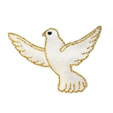 ID 0626 Flying White Dove Peace Love Bird Embroidered Iron On Applique Patch