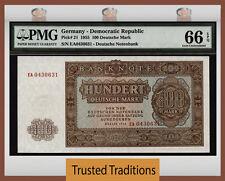 TT PK 21 1955 GERMANY-DEMOCRATIC REPUBLIC 100 DEUTSCHE MARK PMG 66 EPQ GEM UNC