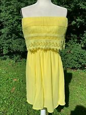C. Luce Lemon Yellow Off Shoulder Ruffle Tier Lace Dress 001 NWT New with Tags S