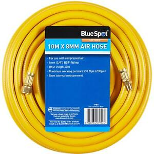 "BlueSpot Rubber Air Hose Line 10m For Air Compressor 1/4"" BSP 8mm Bore 290 psi"