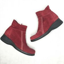 La Canadienne Red Leather Suede Side Zip Up Ankle Booties Women's Size 6