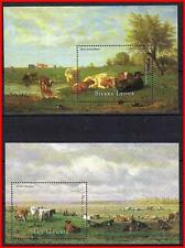 ANIMALS in PAINTINGS x2 S/s MNH unmounted CATTLE, COWS