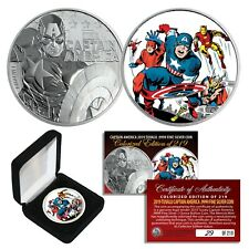 2019 1 oz Pure Silver Marvel CAPTAIN AMERICA Coin S/N 219  Avengers Capt America