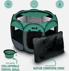 "Ruff 'N Ruffus Portable Pet Playpen Medium 29""x29""x17"" Black Green Travel Bowl"