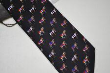 GUCCI Mens Italy Equestrian Twill Silk Black Red Neck Tie