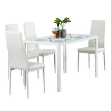 5 Piece PU surface Dining Set GlassTable and 4 Leather Chair for Kitchen Dining