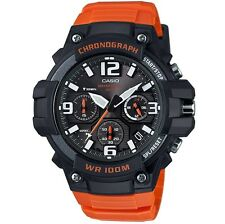 New Casio Men's Chronograph Quartz 100m Black Orange Resin Watch MCW100H-4AV