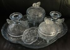 "DEPRESSION GLASS BUTTERFLY ""PASTEL BLUE"" 8 piece DRESSING TABLE SET in EXC"