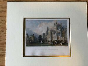 Antique Coloured Print - Bartlett - 1837 Dunfermline Abbey, Fife