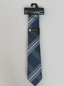 NEW MEN'S BANANA REPUBLIC NECKTIE, ONE SIZE, NAVY WITH WHITE AND GREY STRIPES