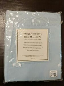 Restoration Hardware Embroidered Bee Bedding Cotton Faille King Pillow Sham