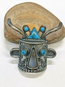 Suncrest R Bolo Tie Necktie Pendent Tribal Mask Blue Turquoise Stone Jewelry