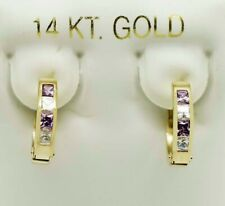 AMETHYST & WHITE SAPPHIRES HOOPS EARRINGS 14K GOLD **MADE IN USA **Free Shipping