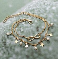 New Women Girl Gold plated Double Chain Star Cross Shape Pearl Anklet Jewelry AU