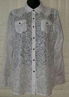Ariat Womens Stud Snap White Sheer Western Long Sleeve Shirt Size M