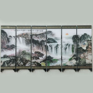 Wooden Chinese Style Vintage Retro Small Mini Folding Panel Screen Room Divider