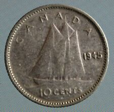 1945 Canada dime - this 10 cent coin is 80% silver