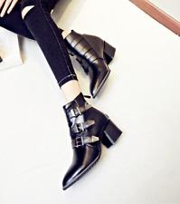Women Med Block Heel Pointed Toe Belt Spring Roman Vintage Martin Boots Black