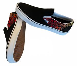 Vans Classic Slip On (Logo Flame) Canvas Shoes Black Men's Size 10 NIB New ⭐️