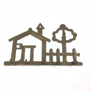 Brass Key Holder Wall Mount Five Hooks House Tree Fence