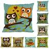 New Owl Cotton Linen Throw Waist Pillow Case Sofa Car Cushion Cover Home Decor