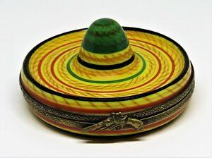 LIMOGES FRANCE BOX - LAGLORIETTE - STRAW HAT - MEXICAN SOMBRERO - PISTOL & HORSE