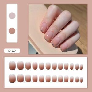 Fake Nail Nude Gradient Glitter Tips French Full Artificial False Press On Nails