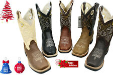 MEN'S RODEO COWBOY BOOTS GENUINE LEATHER WESTERN SQUARE TOE BOTAS- CR721