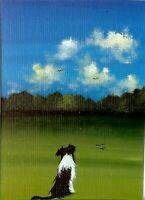 ACEO Original Acrylic Little Collie Dog Companion Best Friend Miniature  HYMES