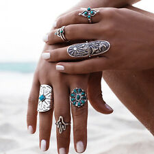 Women Retro Silver Turquoise Bohemian Ring Set Vintage Steampunk Cross Flowers
