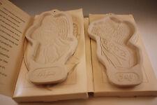 1994, 1996 Longaberger Pottery Angel Series Hope & Joy Set Of 2 Cookie Molds Nib
