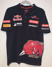 Redbull Mens L Blue Polo W Graphic Screen Printed Logos Front And Back