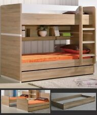 3 IN 1 KING SINGLE BUNK BED INCLUDING TRUNDLE AND SHELVES WHITE AND LIGHT OAK