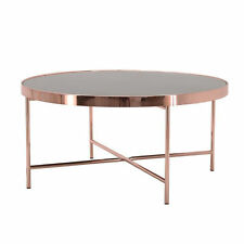 Copper Finish Hepburn Oval Mirrored Stylish Coffee Table W80xD45xH40CM