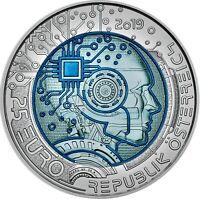 Österreich 25 Euro 2019 Künstliche Intelligenz Silber Niob Münze handghoben
