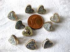 10 kleine Herzchen-Knöpfe, silber-gold,  ca.10 x 9mm   K98
