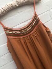 French Connection Pure Silk Dress UK Size 10 Orange Gold Beaded Neckline Holiday