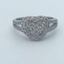 HEART SHAPE DIAMOND RING CLUSTER HALO 1 CARAT E VS2 14K WHITE GOLD SPLIT SHANK