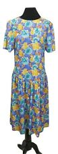 VINTAGE Dress Size 16 Blue Yellow Green L47in Retro Tea Dress Pleated 50s 80s