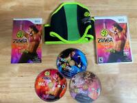Zumba Fitness 1 2 and Core 3 Game Bundle With Belt Nintendo Wii