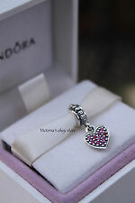 Authentic Pandora PAVE HEART, RED CZ DANGLE CHARM 791023CZR