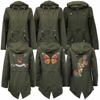 Ladies Kagool Jacket Brave Soul Womens Cagoule Hooded Fish Tail Tattoo Print New
