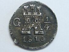 1810 GUATEMALA 1/4 REAL FERDINAND VII SPAIN SPANISH COLONIAL SILVER