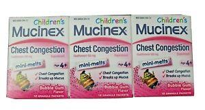 3 Children's Mucinex Chest Congestion Mini-Melts Bubble Gum Ages 4+ 12ct ea (36)