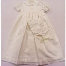 Frazer & James Baby Christening Robe Pleated Long Ivory Gown & Bonnet 0-3 months
