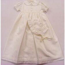 Bebé Tradicional Vestido De Bautizo Bata Plisada Larga Marfil & Bonnet 0-3 meses