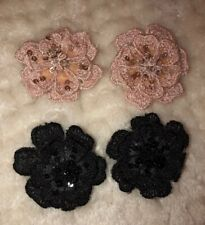 H&M Pink Black Sequin Flower Stylish Hair Clips For Little Girls 4 Pc Set Great!
