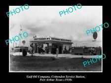 OLD 6 X 4 HISTORIC PHOTO GULF OIL COMPANY SERVICE STATION PORT ARTHUR TEXAS 1930