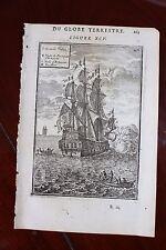 ✒ 1683 MANESSON MALLET Marine différentes VOILES d'un NAVIRE bateau