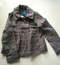 NWT Girls TCP CHILDRENS PLACE Swing Coat Embroidered Flowers Buttons Plaid M 7 8